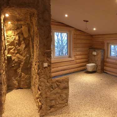 raumdesign mit stein innenraum. Black Bedroom Furniture Sets. Home Design Ideas
